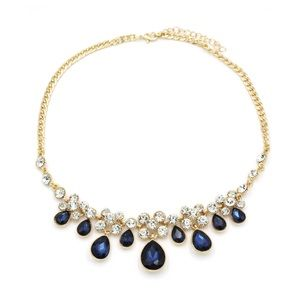 Noble gold blue garnet crystal necklace
